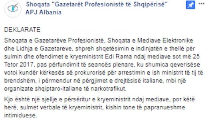Shoqatat e Gazetarëve kundër Kryeministrit