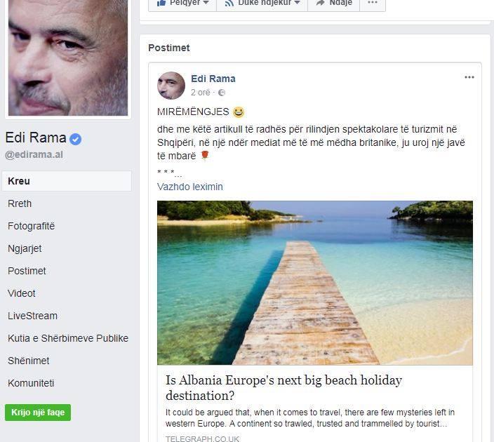 """Rama: Mirëmëngjes me artikullin për Shqipërinë nga """"The telegraph"""""""