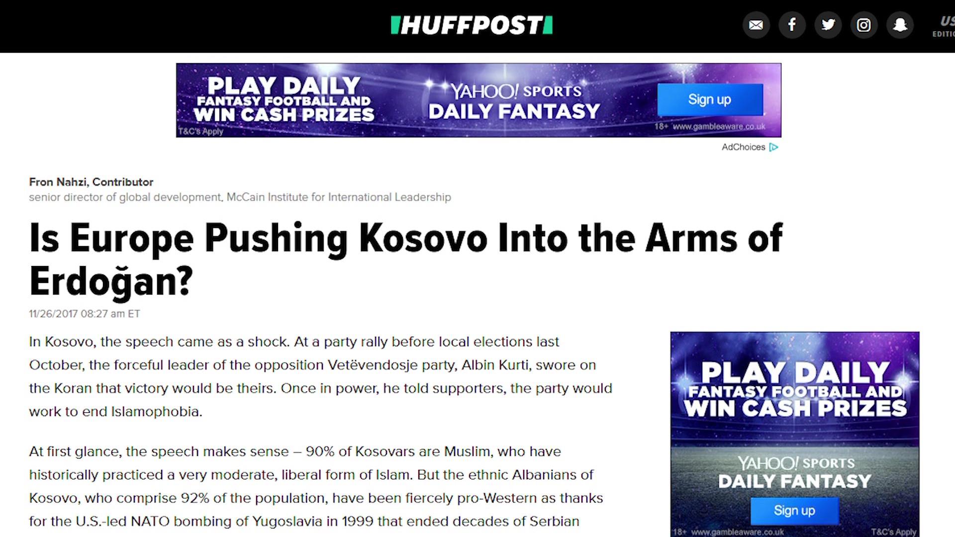 A po e shtyn Europa Kosovën drejt Turqisë së Erdogan?