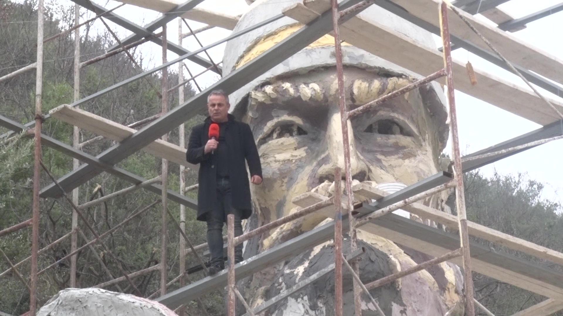 Monument i Skënderbeut në një faqe mali në Labinot të Elbasanit