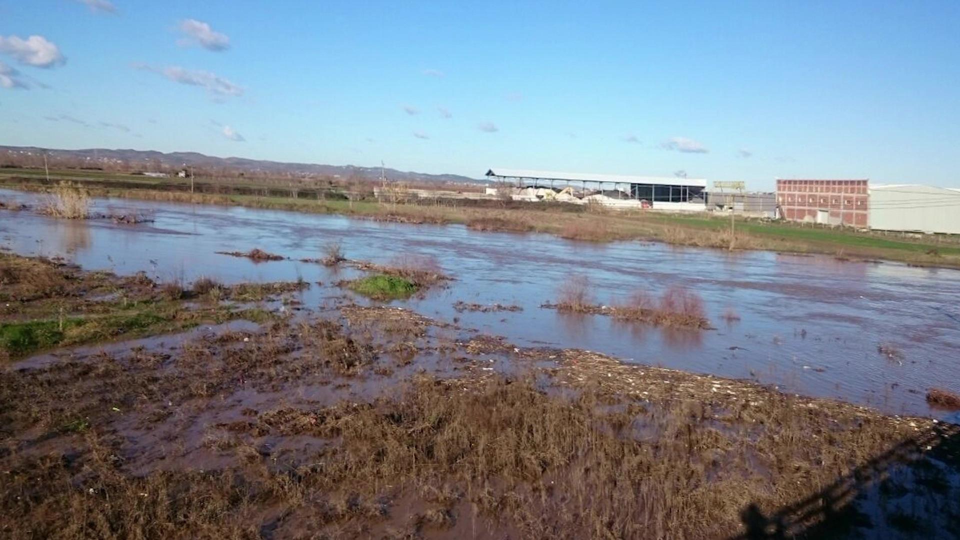 Shkumbini del nga shtrati tek ura e Rrogozhinës dhe përmbyt toka bujqësore