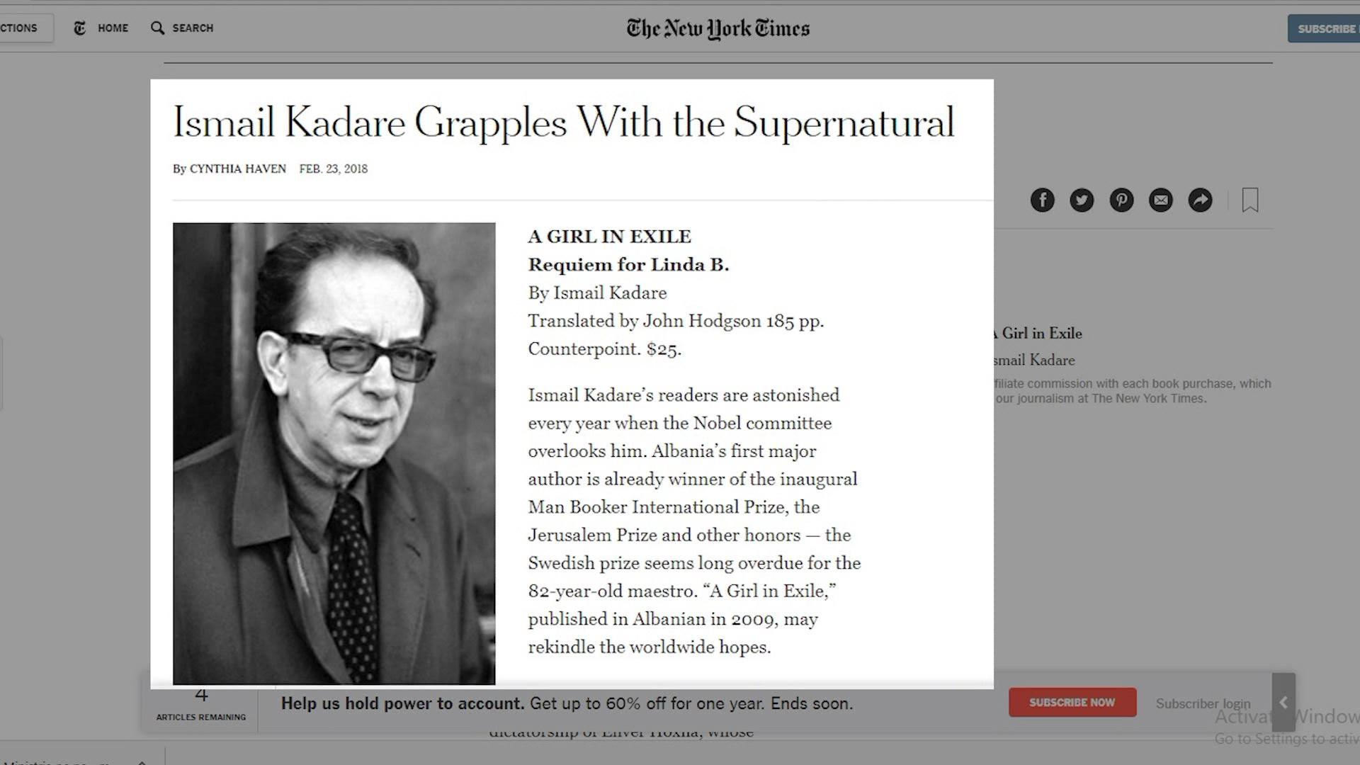 New York Times shkruan për Ismail Kadarenë