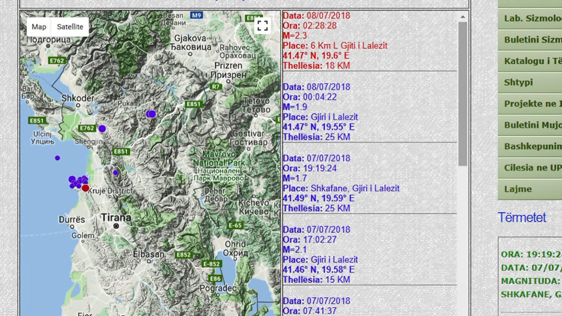 Tjetër tërmet te Gjiri i Lalëzit me magnitudë 2.3 ballë