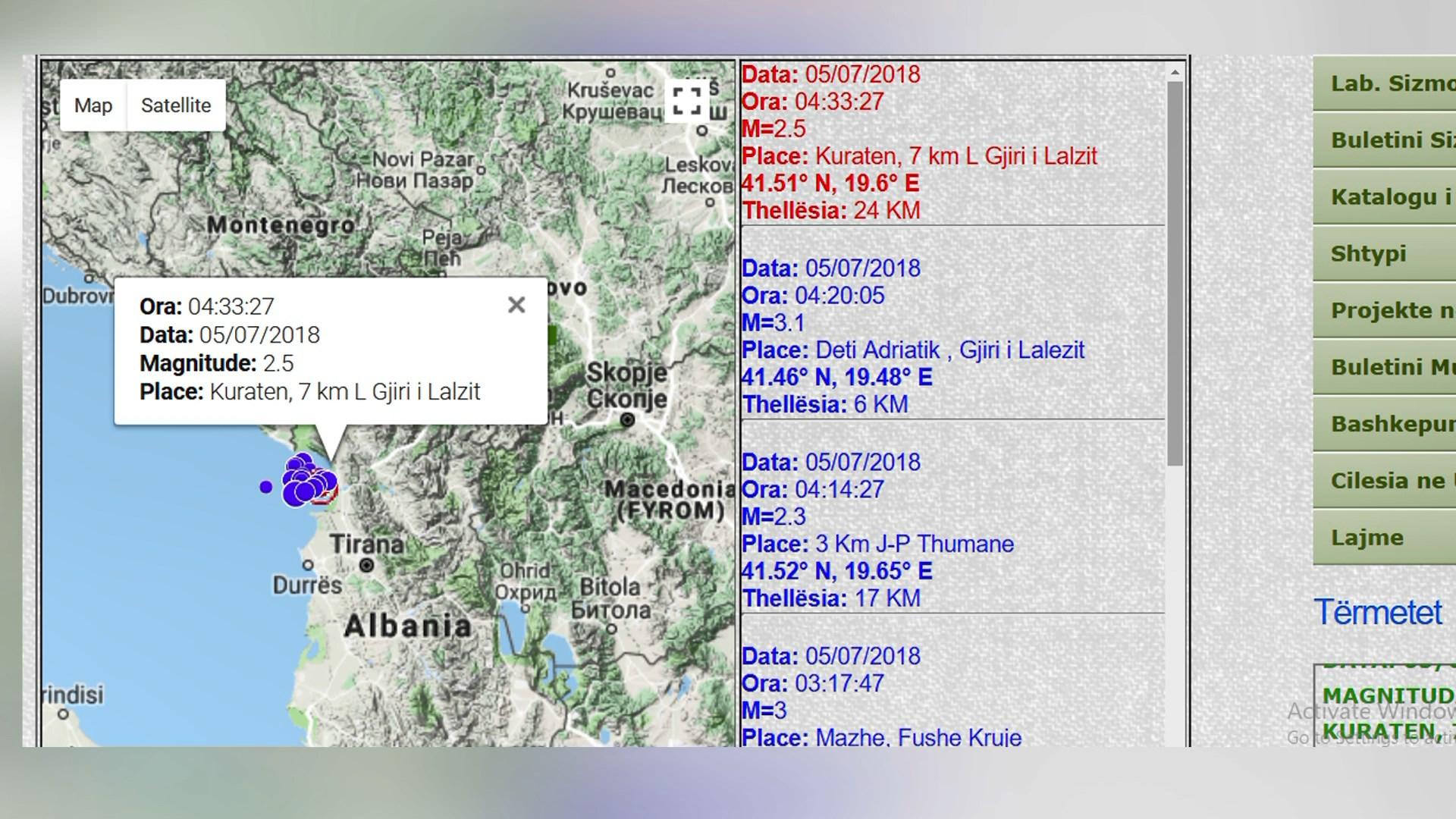 Regjistrohen edhe 6 tërmete të tjera në orët e para të ditës së sotme