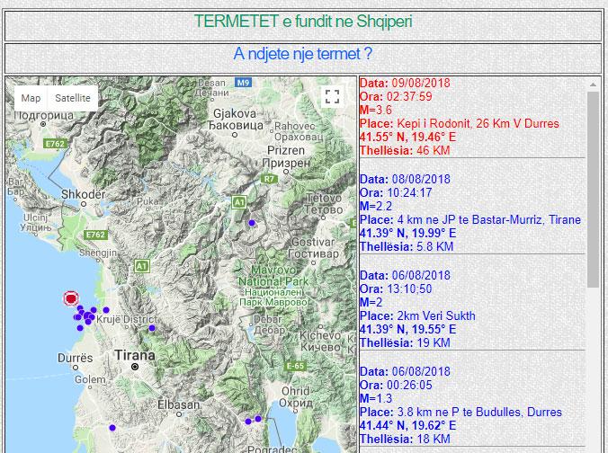 Lëkundje tërmeti në Kepin e Rodonit me magnitudë 3.6