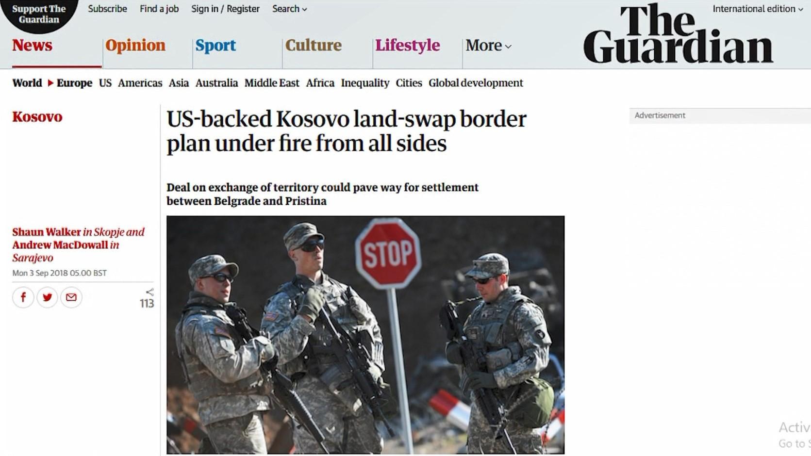 The Guardian: Shkëmbimi i territoreve mes Kosovës dhe Serbisë – nën zjarr
