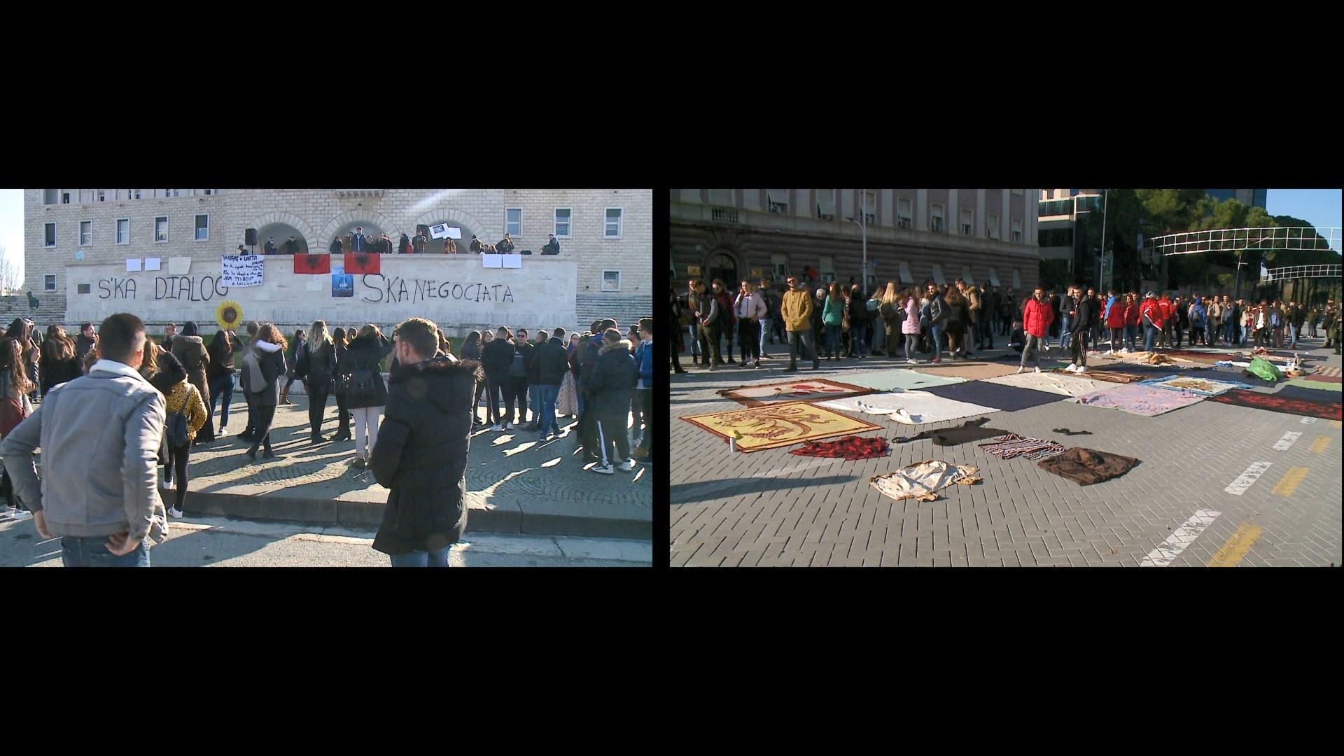 Protesta e studentëve në ditën e 16-të, dy sheshe – një kauzë