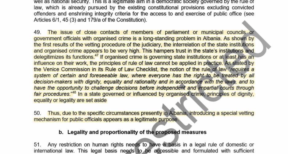 Komisioni Venecias i përgjigjet Vettingut në politikë: Qëllimi legjitim