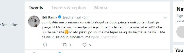 Rama në Tuiter: Po tani kush ju përçau?