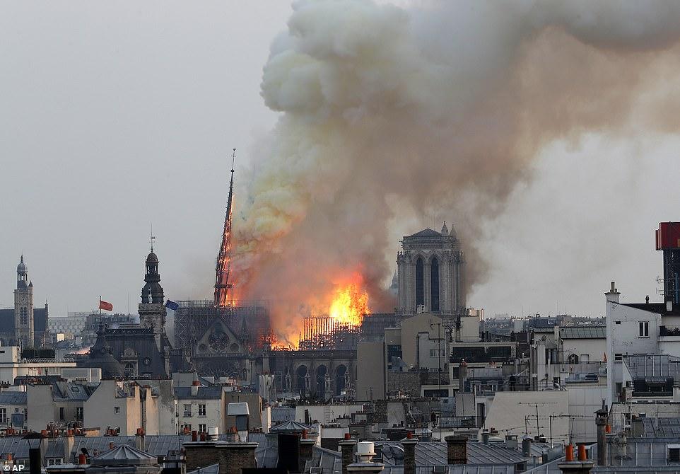 Fotolajm/ Flakët përpijnë Katedralen e Notre Dame