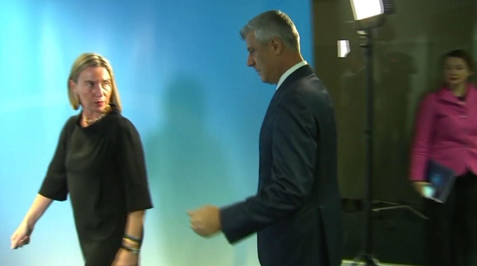 Thaçi pas takimit me Mogherinin: Presim lajme të mira