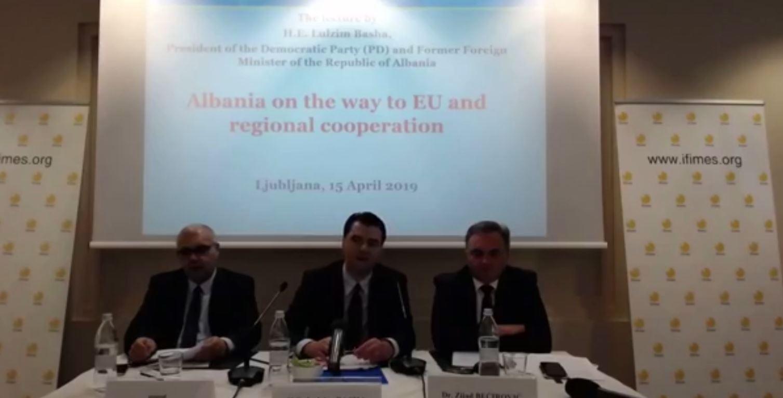 Basha në Slloveni: Inkurajoj KE të monitorojë ligjin në Shqipëri