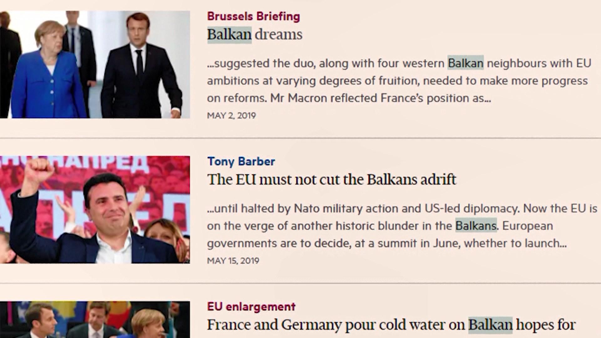 """""""Financial Times"""": BE të mos i mbyllë dyert Ballkanit"""