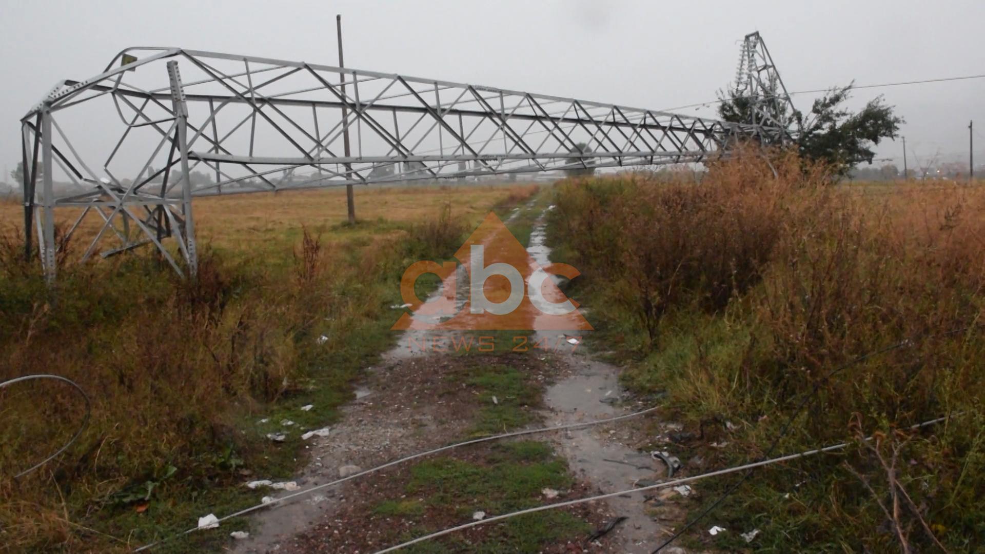 Rrëzohen dy shtylla të tensionit të lartë, ndërpritet energjia elektrike në disa fshatra