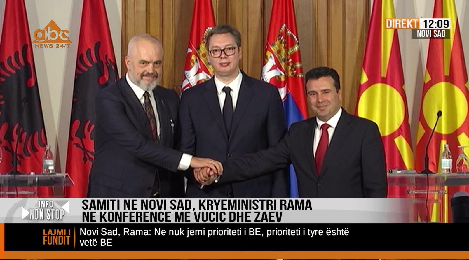 Rama, Vuçiç, Zaev : Qëllimi i të treve është që të kalojnë kufijtë e vendeve tona vetëm me një letërnjoftim