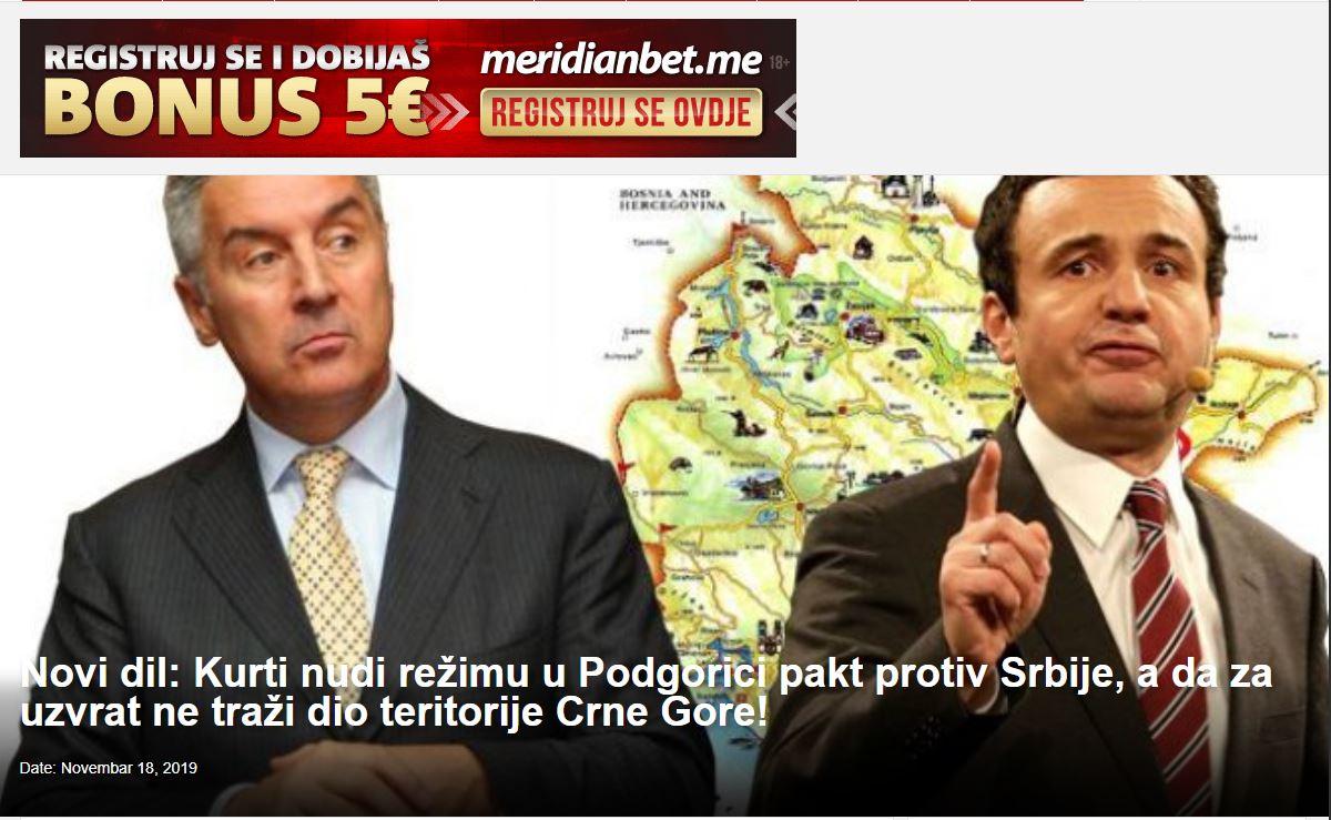Mediat malazeze: Albin Kurti, pakt me Gjukanoviç për aleancë kundër Serbisë