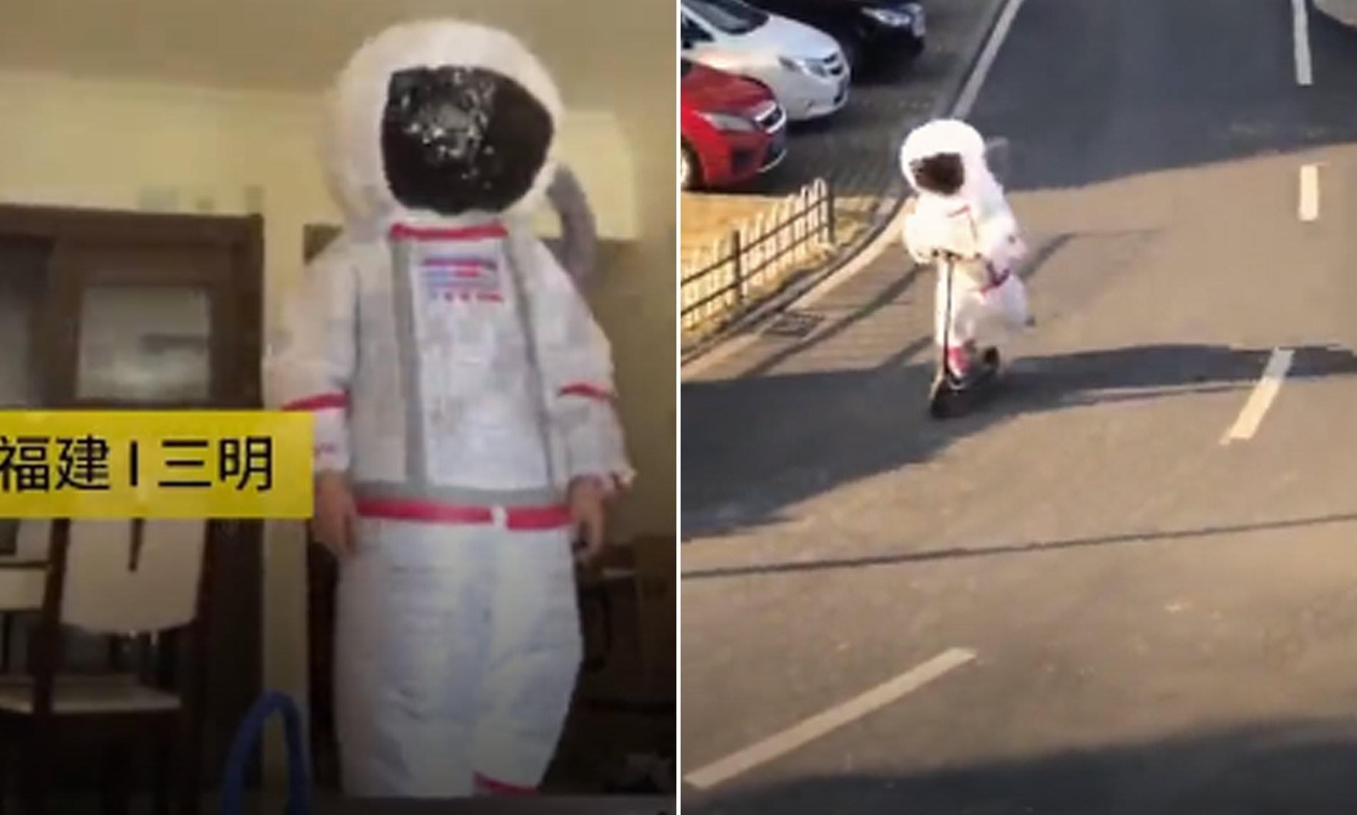 Kinezi vishet si astronaut për tu mbrojtur nga koronavirusi