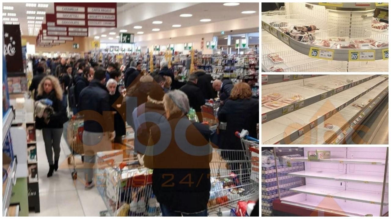 FOTO / Italia në panik, boshatisen supermarketet në 5 zonat e prekura