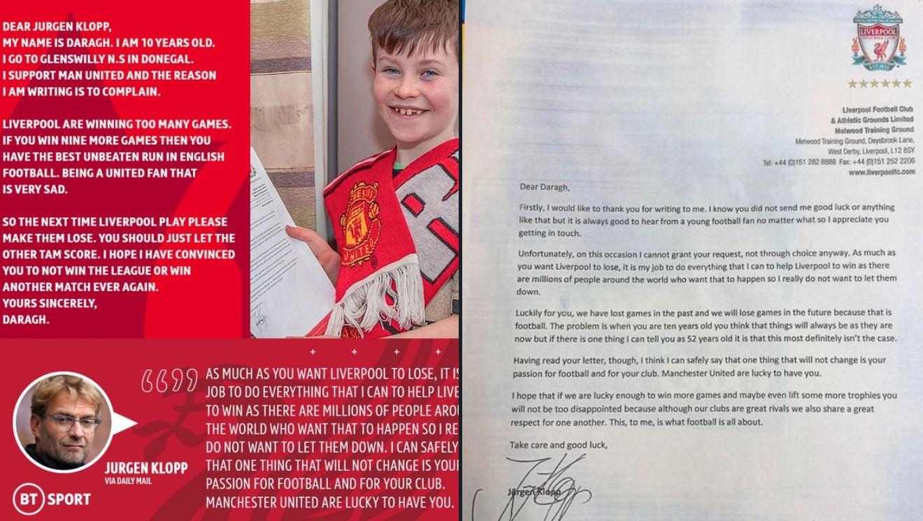 Letra e tifozit 10 vjeçar të United, Klopp i kthen përgjigje fantastike