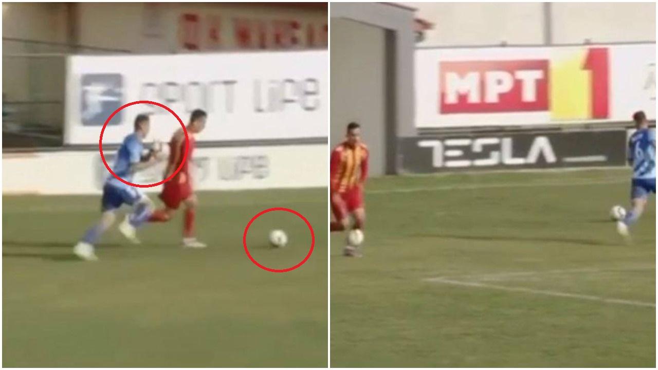 VIDEO | E rrallë në Maqedoninë e Veriut, mbrojtësi godet topin me… top!