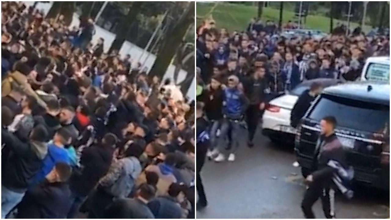 """VIDEO/ """"S'na mban më vendi, na iku truri"""", Fanatics e djegin në marshim"""