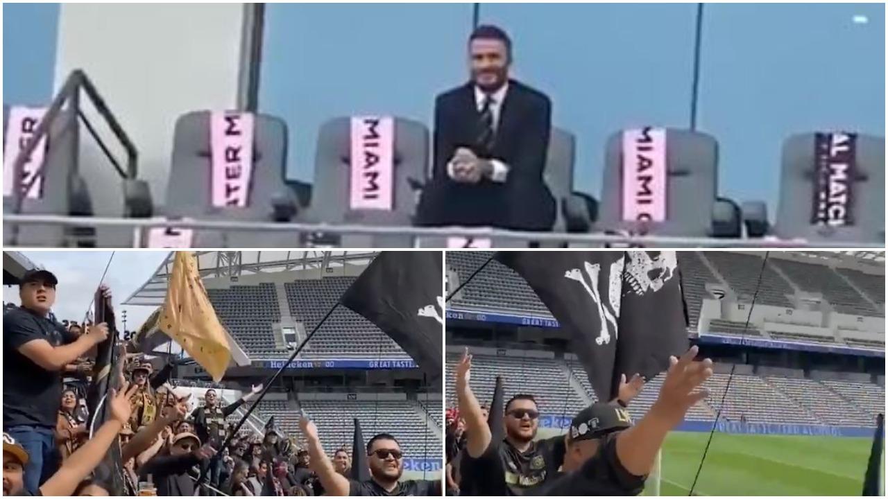 """VIDEO   Beckham i vetëm në tribunë, tifozët rivalë """"tallen"""" keq me anglezin"""