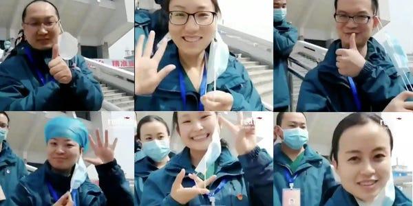 Mjekët kinezë festojnë mbylljen e spitalit të fundit provizor në Wuhan, heqin maskat njëri pas tjetërit
