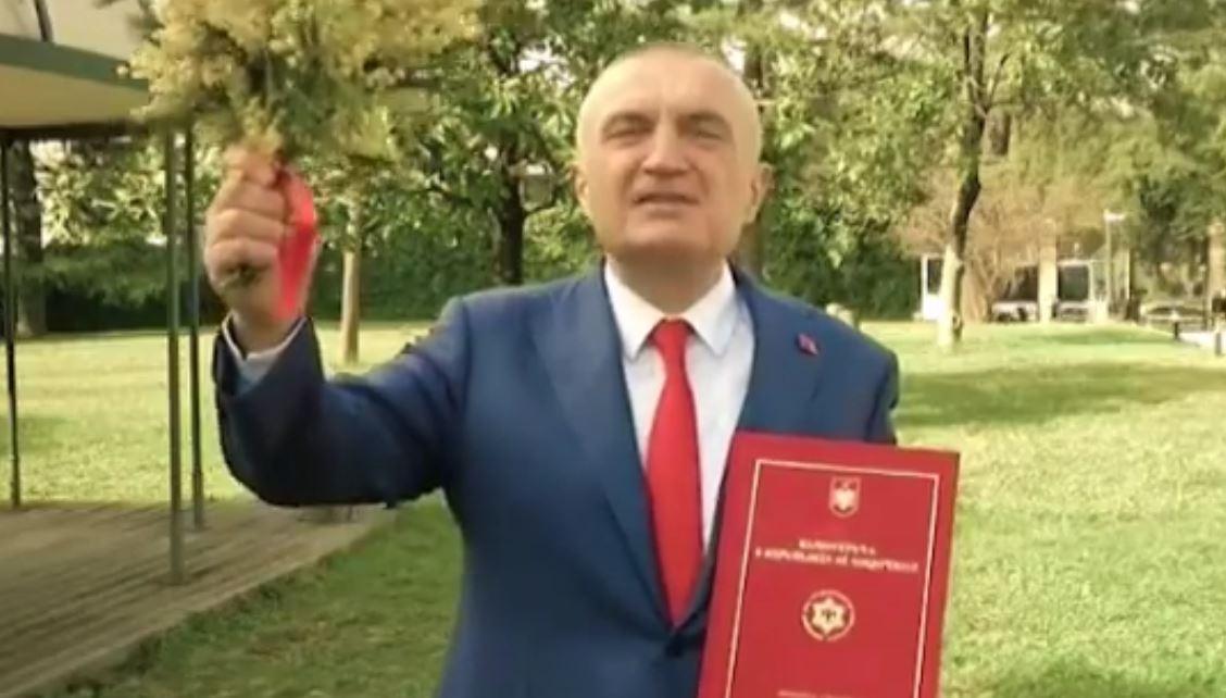 Me Kushtetutën dhe një buqetë me mimoza në dorë, Meta video-mesazh para nisjes së manifestimit