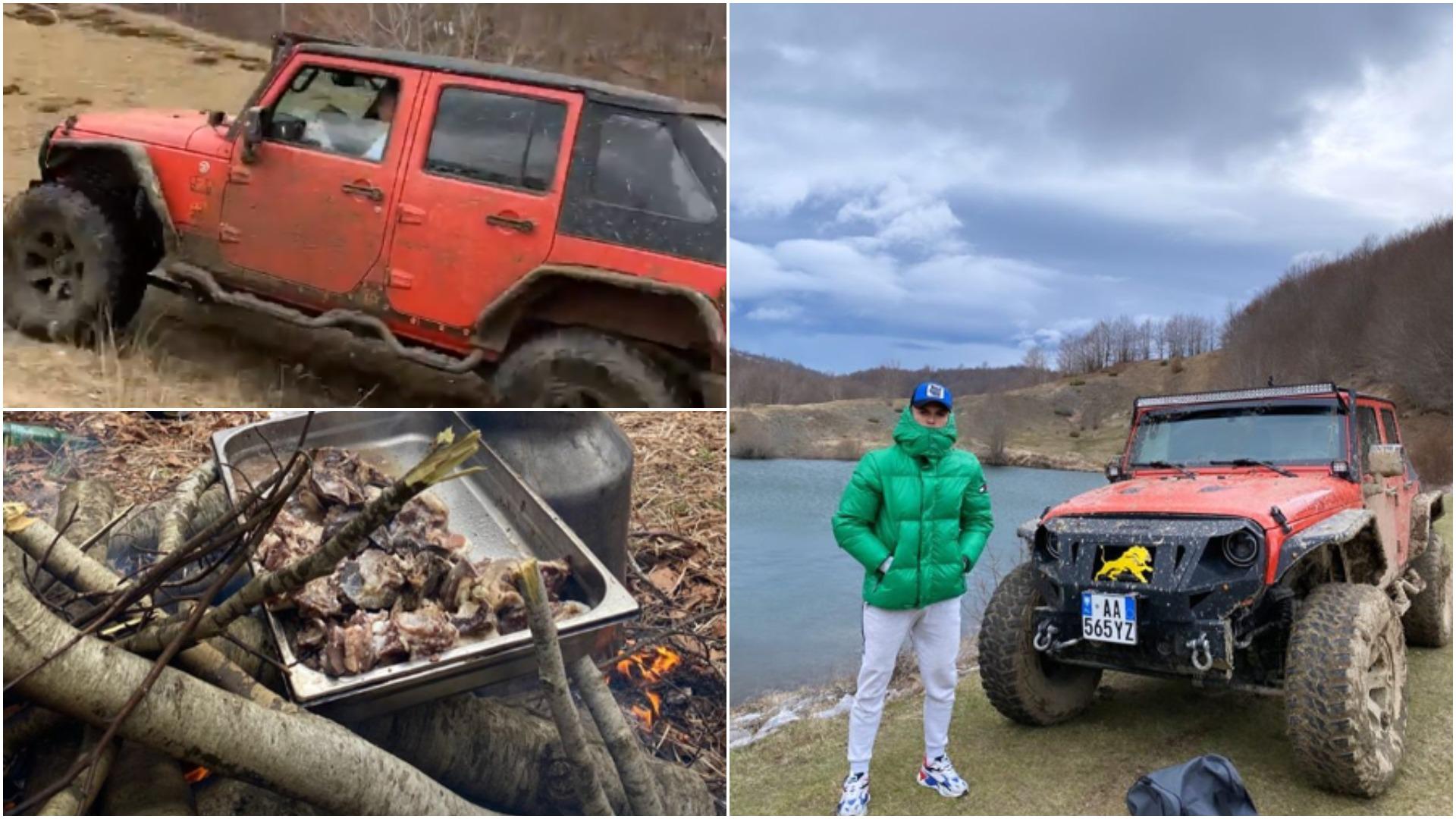 VIDEO | Me 4×4 në pyll dhe me mish në zgarë, pasioni tjetër i Albi Dokës