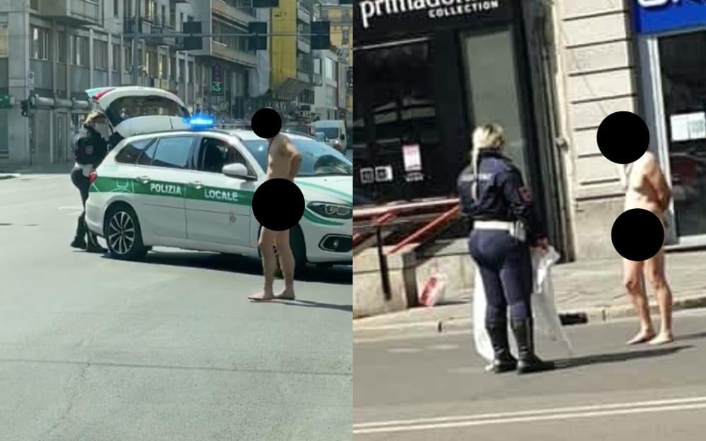 Një burrë del nudo rrugëve të qytetit