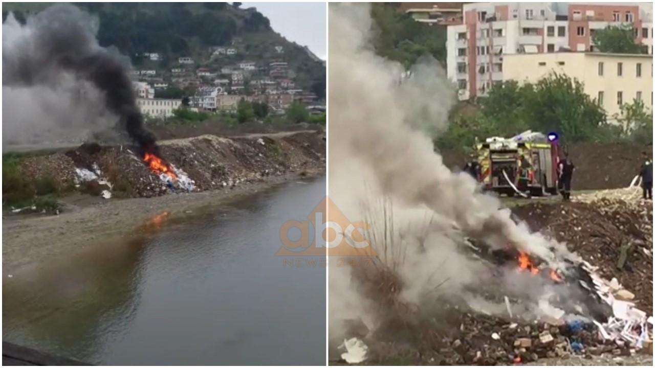 Digjen mbetjet e plastikës në Osum, tymi ndot Beratin dhe zonat përreth