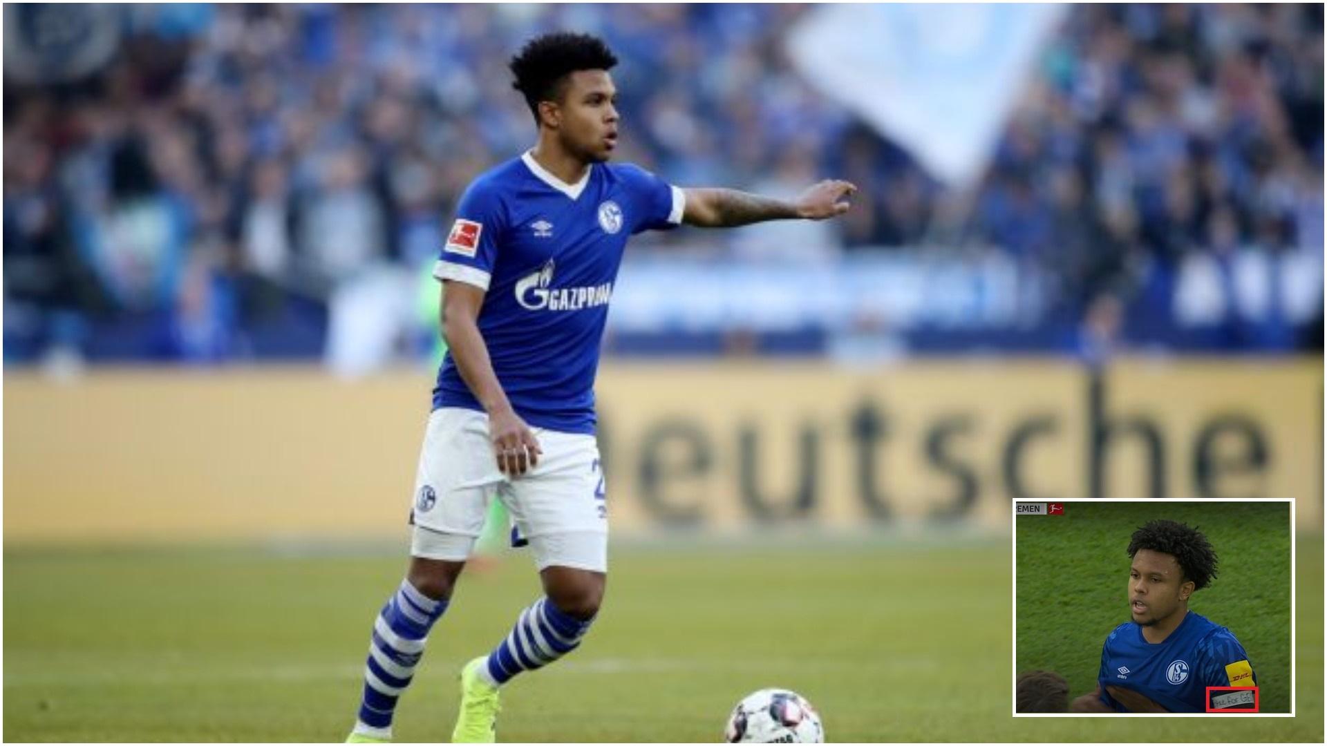 """FOTO/ """"Drejtësi për George"""", amerikani i Schalkes me mesazh të qartë"""