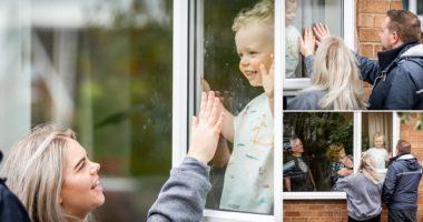 FOTO/Prekëse, nëna infermiere takon djalin dy vjeçar nga dritarja