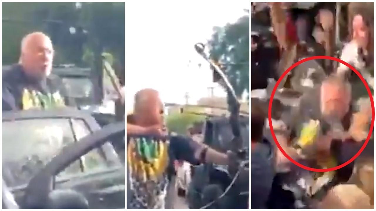 VIDEO/ Me hark dhe me shigjetë iu drejtua protestuesve, rrihet brutalisht nga turma