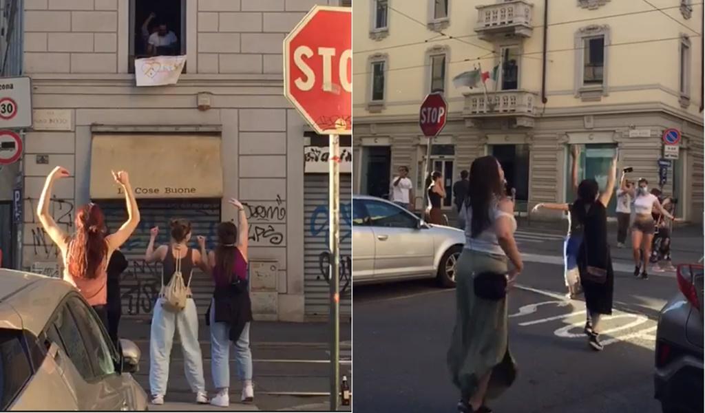 """VIDEO / """"Shpërthen"""" në festë Milano, pas izolimit italianët këngë e valle në rrugë"""