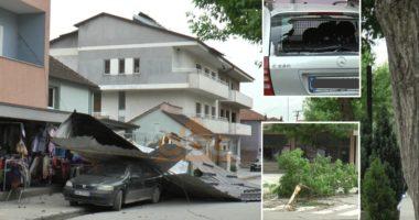 VIDEO/ Era e fortë shkatërron çati dhe thyen pemë në Peshkopi