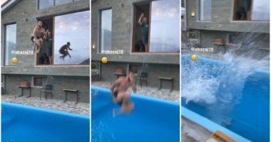 """VIDEO/ Doka e sfidoi, Abazaj """"tërbon"""" pishinën me këtë hedhje"""