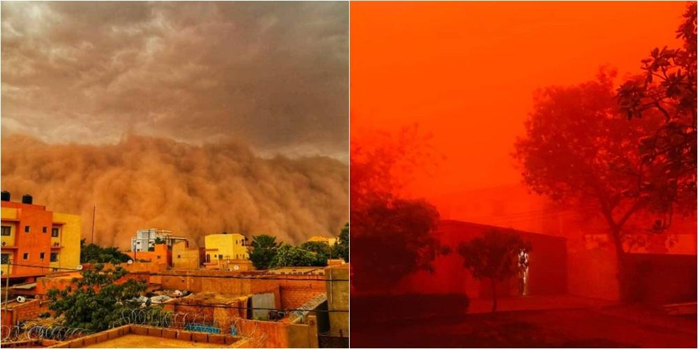 """Pamje """"apokaliptike"""": Muri me rërë pushton qytetin, qielli bëhet i kuq"""