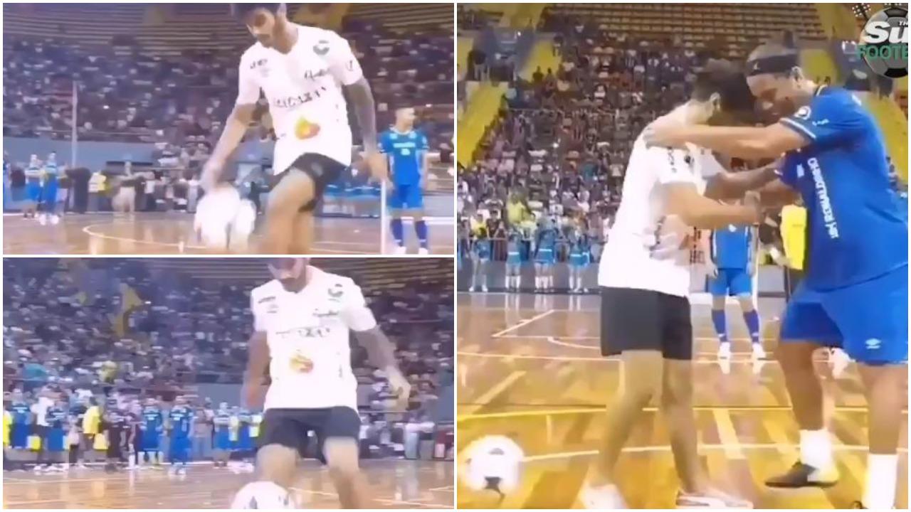 """VIDEO/ Ronaldinho i pamëshirshëm, turpëron """"mjeshtrin"""" e topit!"""