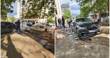 FOTO/ Aksidentohet BMW-ja luksoze në Elbasan, merr para taksinë