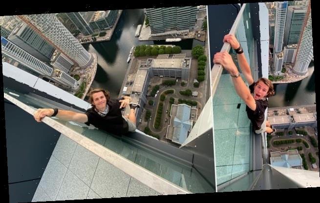 Adoleshenti britanik qëndron i varur në mbi 180 metra lartësi
