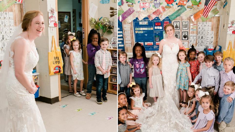 Surpriza e veçantë e mësueses, vishet nuse dhe takon të parët nxënësit