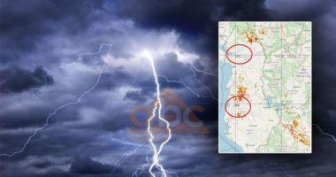 HARTA/ Një stuhi me rrufe pushton papritur vendin, qindra shkarkesa elektrike brenda 1 ore