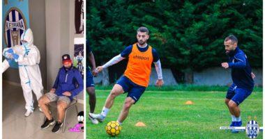 Lojtarët e Tiranës në radhë, kryejnë testet për COVID-19