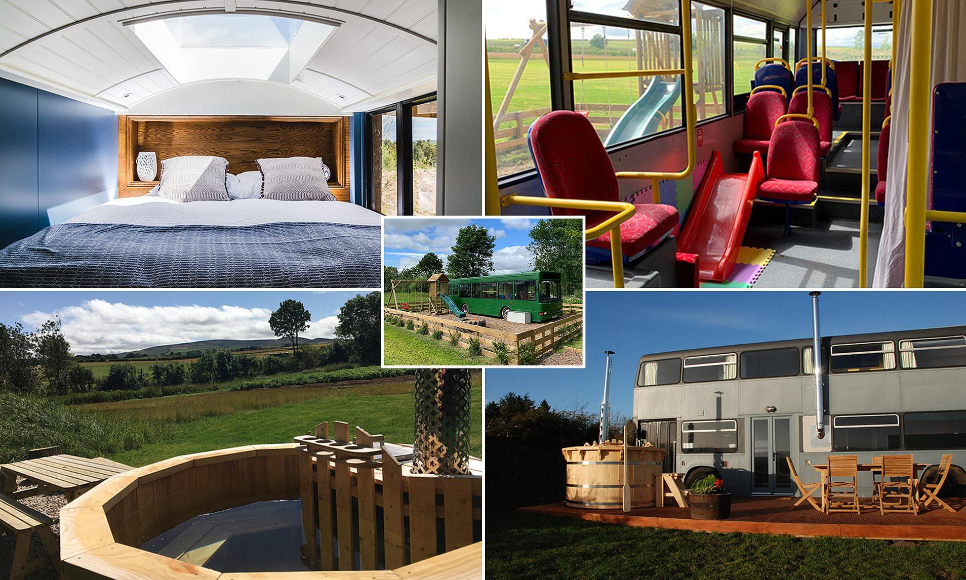 """FOTO/ Familja britanike shndërron autobusët në shtëpia """"luksoze"""" për pushuesit"""