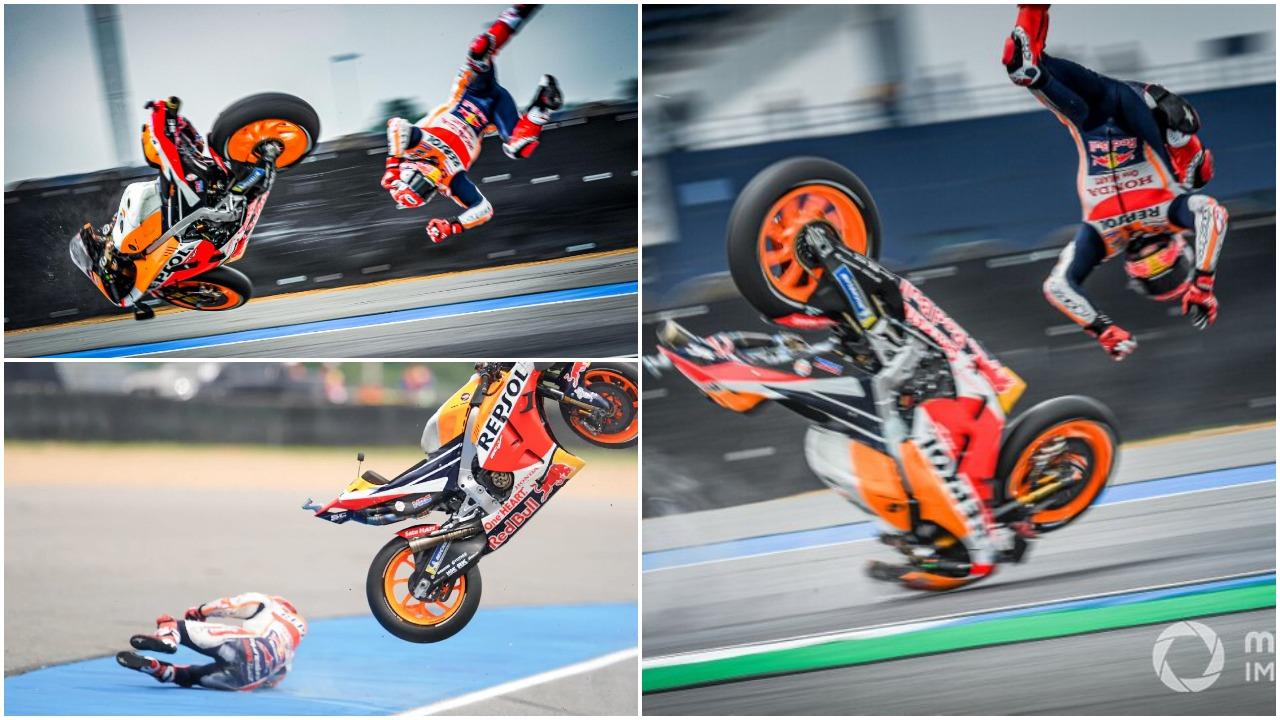 """VIDEO/ Aksident horror në MotoGP, Marc Marquez """"fluturon"""" në pistën e Spanjës"""