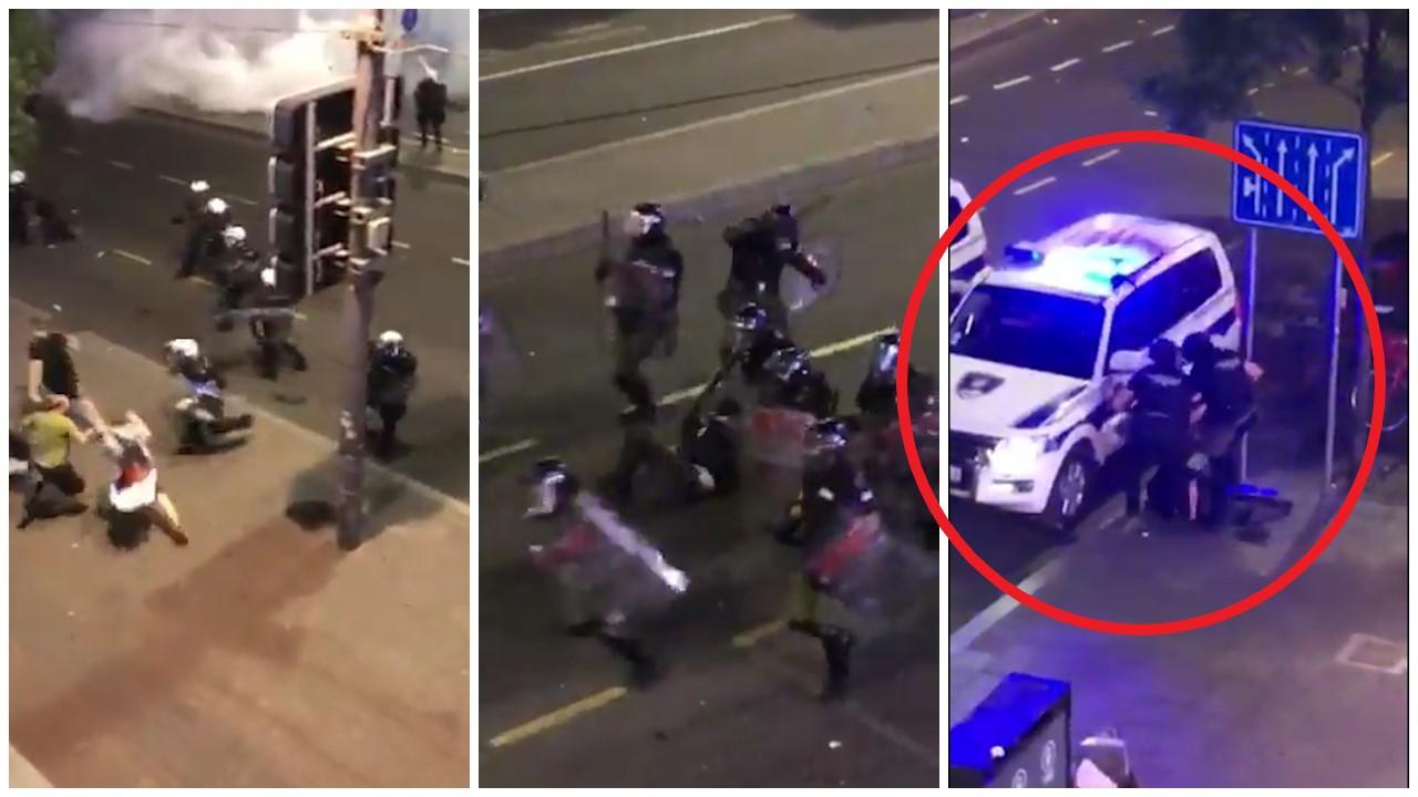 VIDEO/ Tërbohen serbët, shkopinj gome dhe shkelma mbi protestuesin pa ndjenja