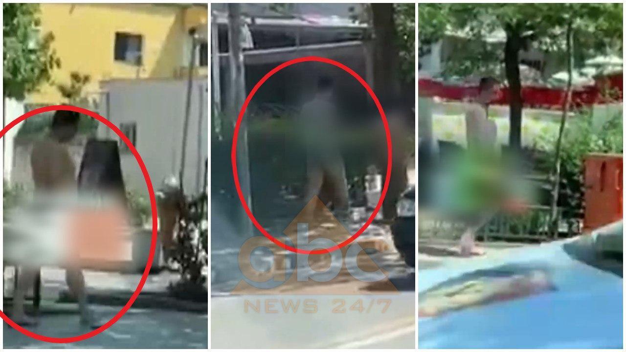 VIDEO/ I riu shëtit i zhveshur në rrugët e Tiranës, policia bën sehir