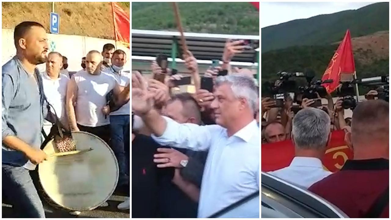 VIDEO/ Thaçi pritet si hero pas kthimit nga Haga, qindra qytetarë me flamuj dhe valle