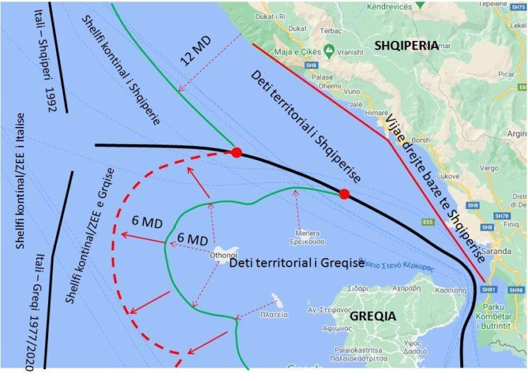Kufiri detar, pse Greqia nuk mund të shtrihet përtej vijës delimituese të dy shteteve tona